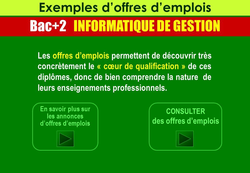 Exemples d'offres d'emplois