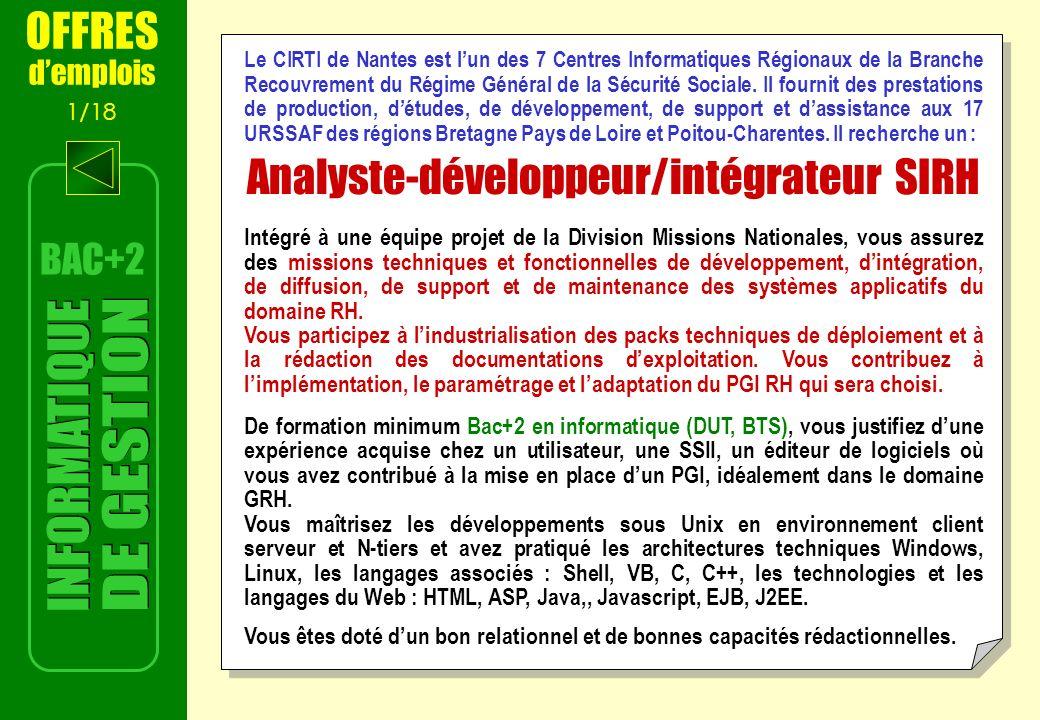 Analyste-développeur/intégrateur SIRH