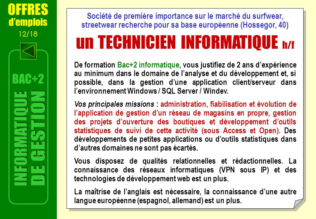 un TECHNICIEN INFORMATIQUE h/f