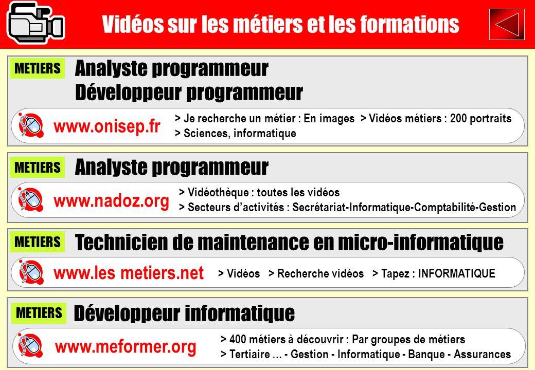 Vidéos sur les métiers et les formations