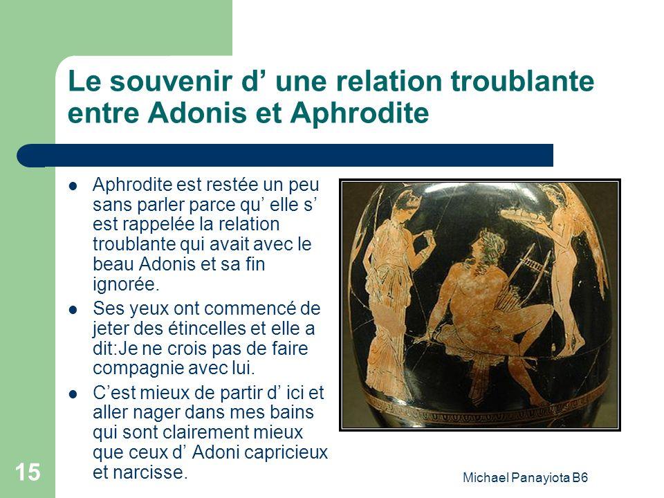 Le souvenir d' une relation troublante entre Adonis et Aphrodite