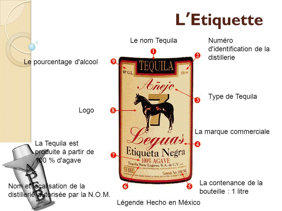 L'Etiquette Le nom Tequila Numéro d identification de la distillerie