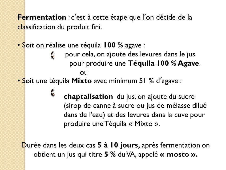 Fermentation : c'est à cette étape que l'on décide de la classification du produit fini.