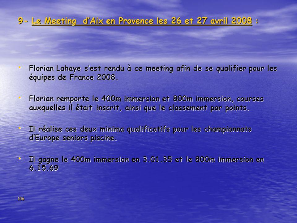 9- Le Meeting d'Aix en Provence les 26 et 27 avril 2008 :
