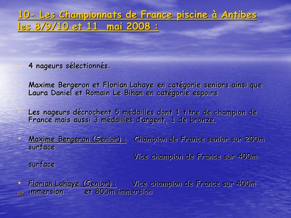 10- Les Championnats de France piscine à Antibes les 8/9/10 et 11 mai 2008 :
