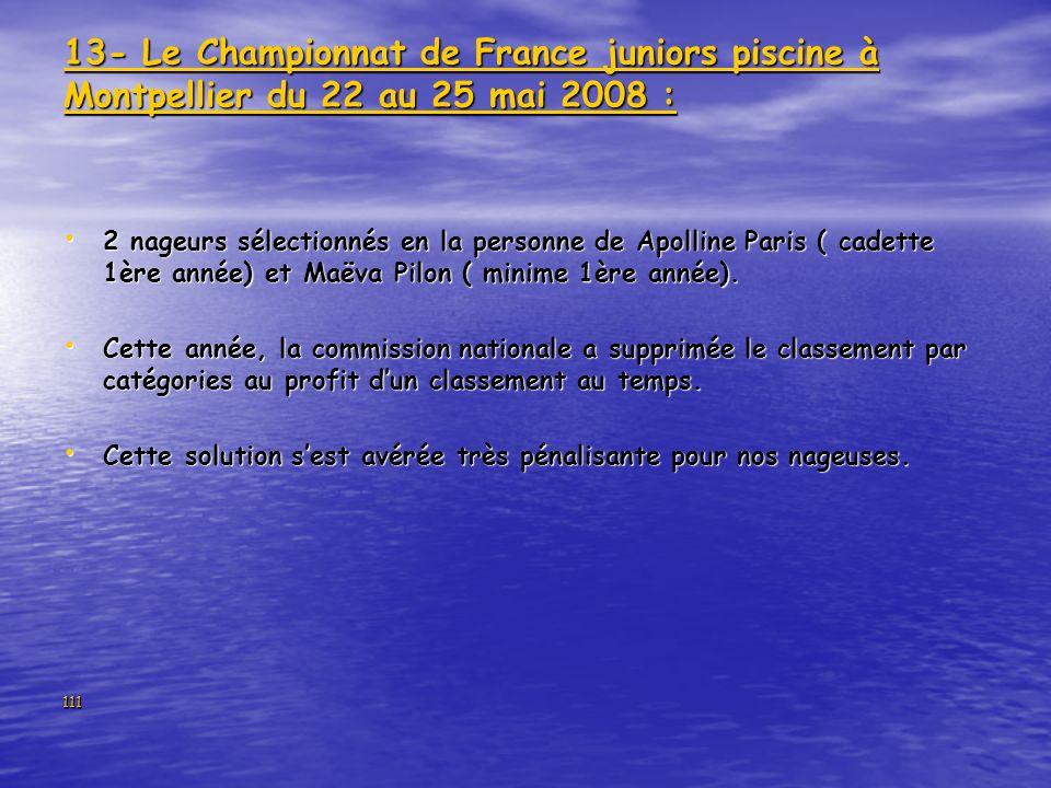 13- Le Championnat de France juniors piscine à Montpellier du 22 au 25 mai 2008 :