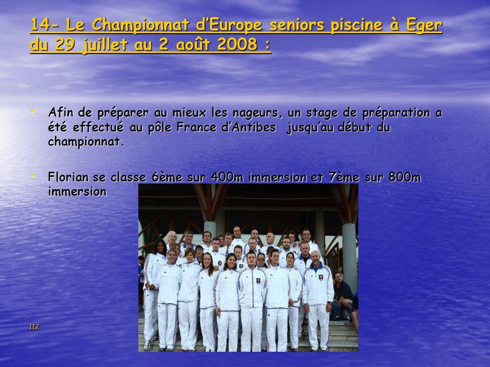 14- Le Championnat d'Europe seniors piscine à Eger du 29 juillet au 2 août 2008 :