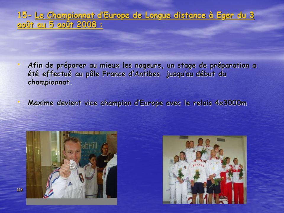 15- Le Championnat d'Europe de Longue distance à Eger du 3 août au 5 août 2008 :