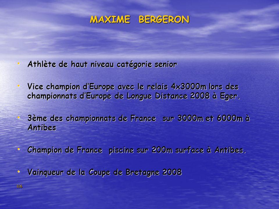 MAXIME BERGERON Athlète de haut niveau catégorie senior