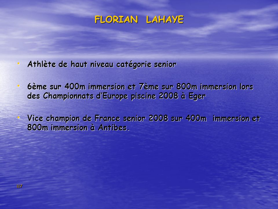 FLORIAN LAHAYE Athlète de haut niveau catégorie senior