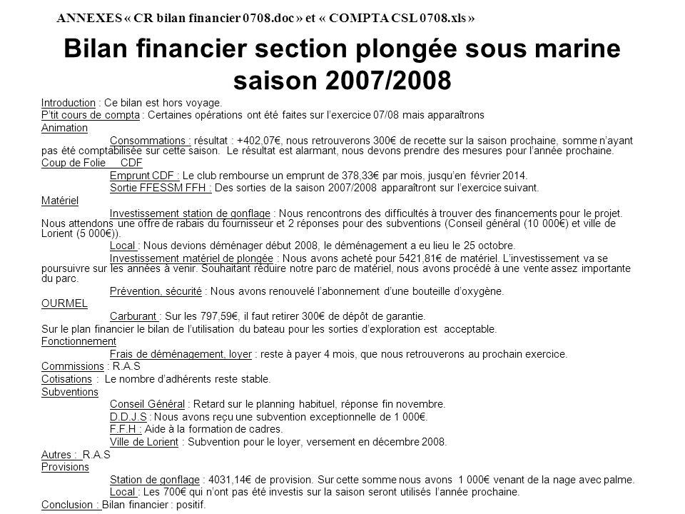 Bilan financier section plongée sous marine saison 2007/2008