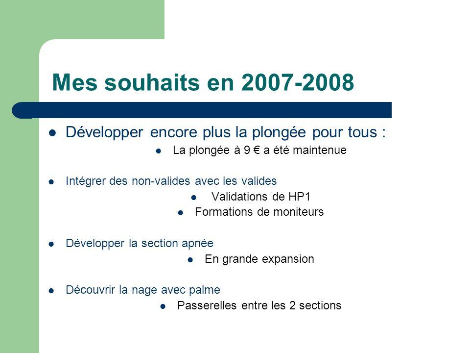 Mes souhaits en 2007-2008 Développer encore plus la plongée pour tous : La plongée à 9 € a été maintenue.