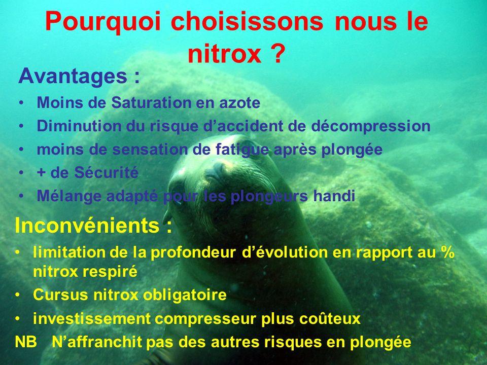 Pourquoi choisissons nous le nitrox