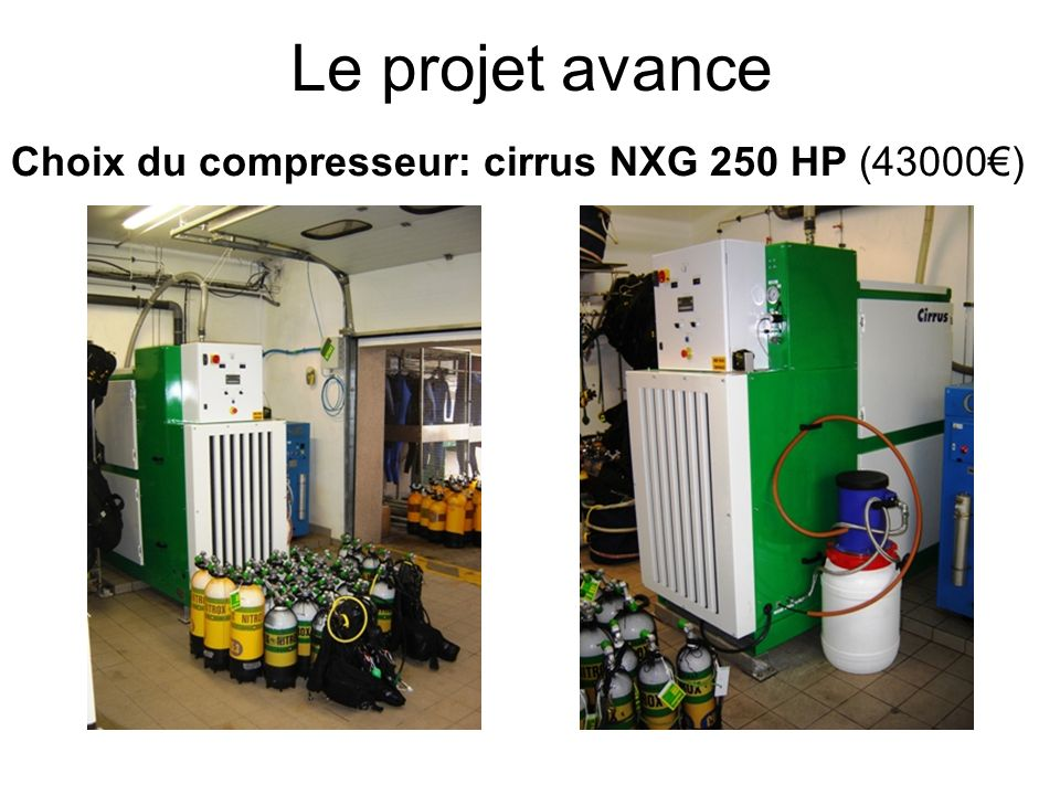 Le projet avance Choix du compresseur: cirrus NXG 250 HP (43000€)