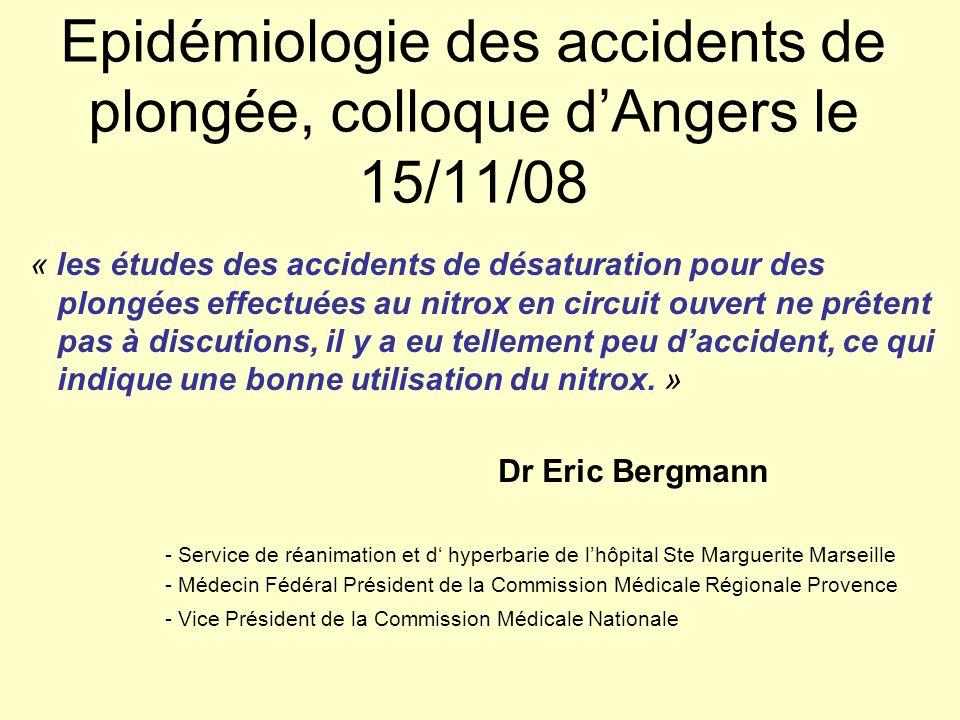 Epidémiologie des accidents de plongée, colloque d'Angers le 15/11/08