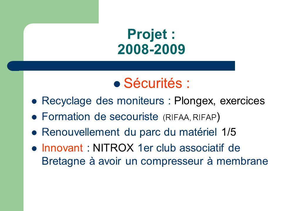Projet : 2008-2009 Sécurités : Recyclage des moniteurs : Plongex, exercices. Formation de secouriste (RIFAA, RIFAP)