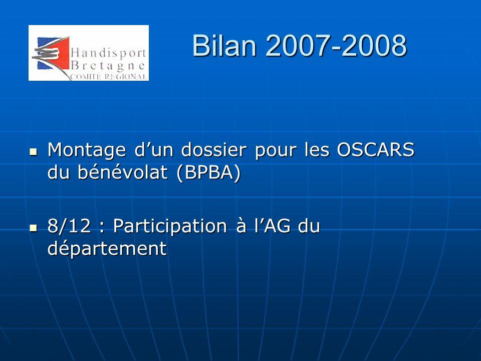 Bilan 2007-2008 Montage d'un dossier pour les OSCARS du bénévolat (BPBA) 8/12 : Participation à l'AG du département.