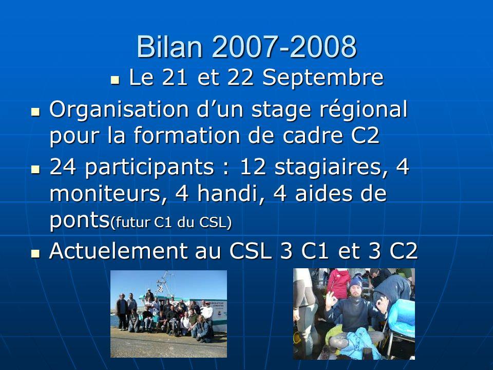 Bilan 2007-2008 Le 21 et 22 Septembre. Organisation d'un stage régional pour la formation de cadre C2.