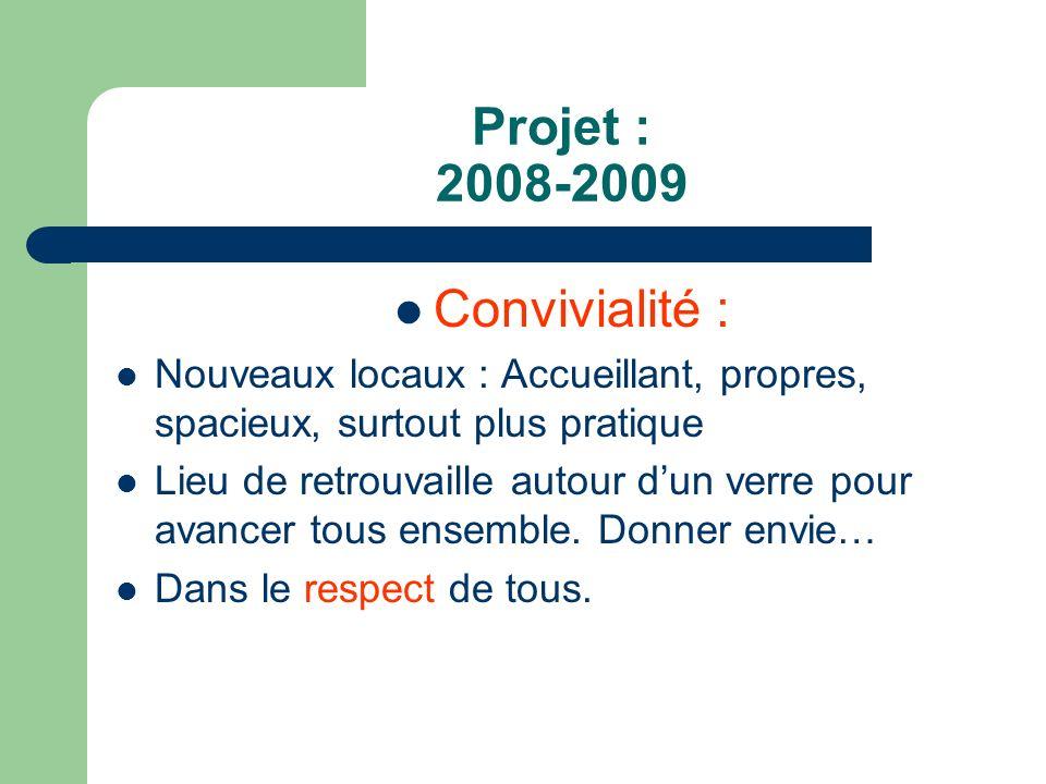Projet : 2008-2009 Convivialité :