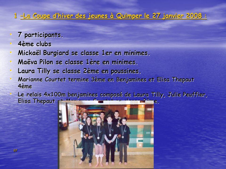 1 –La Coupe d'hiver des jeunes à Quimper le 27 janvier 2008 :