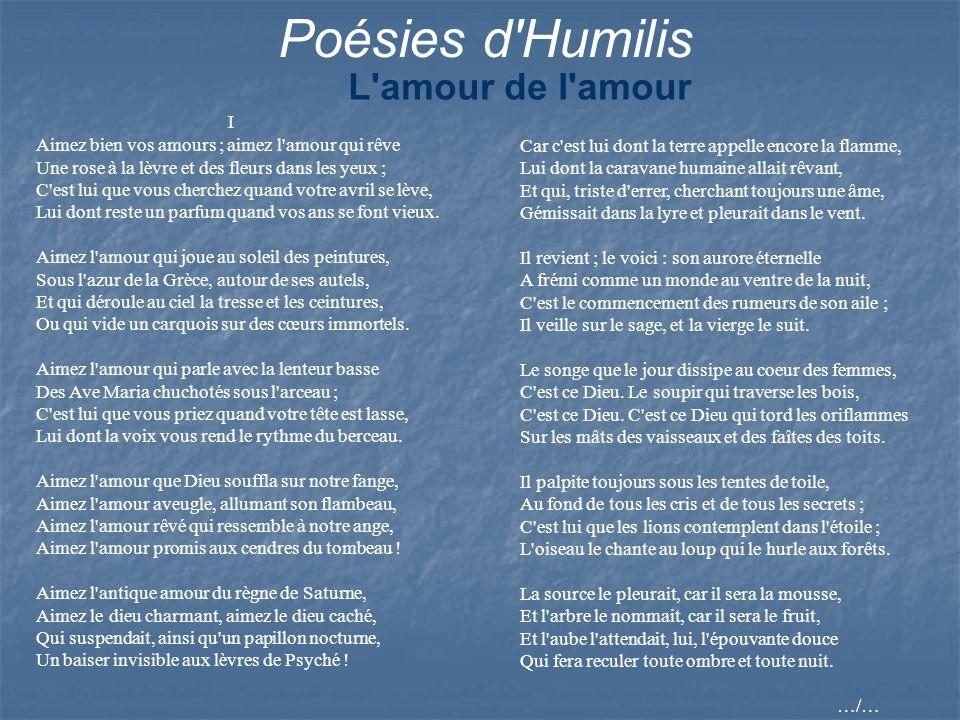 Poésies d Humilis L amour de l amour
