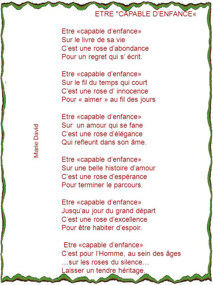 ETRE CAPABLE D'ENFANCE« Etre «capable d'enfance»