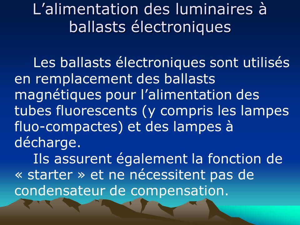 L'alimentation des luminaires à ballasts électroniques