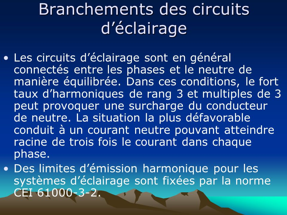 Branchements des circuits d'éclairage