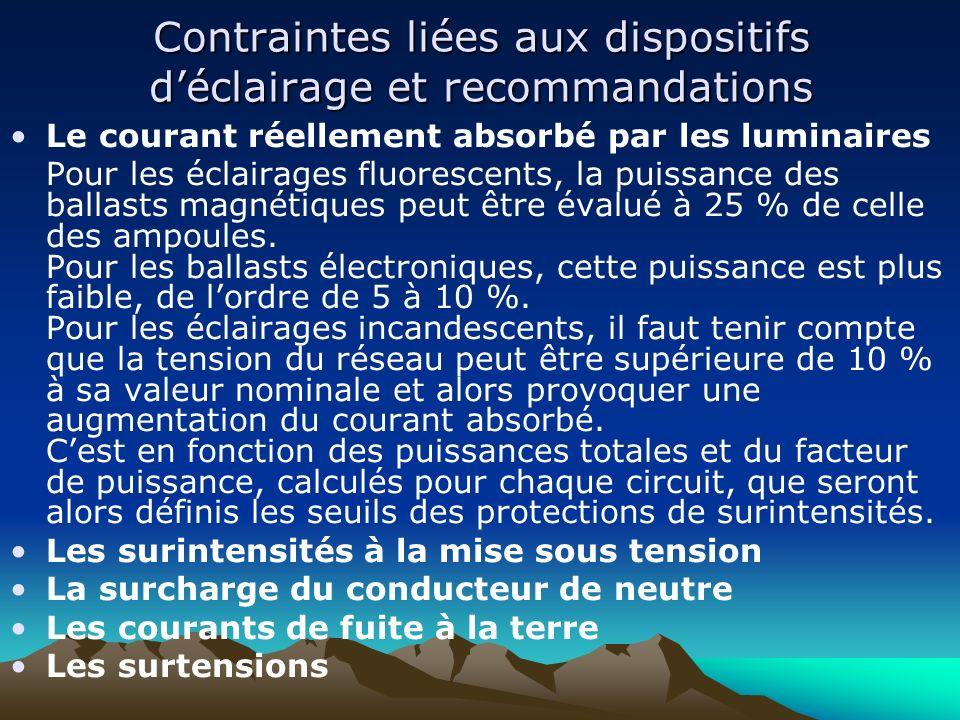 Contraintes liées aux dispositifs d'éclairage et recommandations
