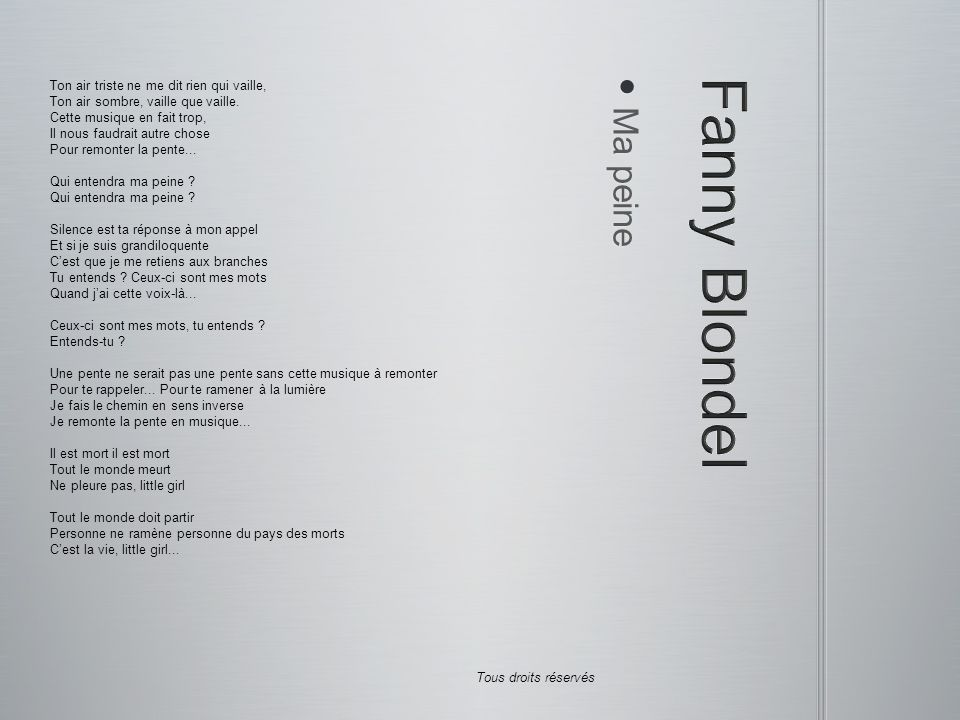 Fanny Blondel Ma peine Ton air triste ne me dit rien qui vaille,