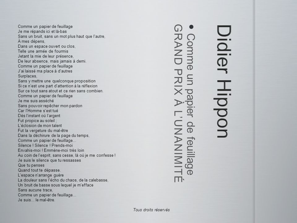 Didier Hippon GRAND PRIX À L'UNANIMITÉ Comme un papier de feuillage