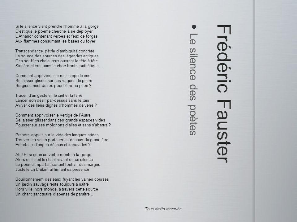 Frédéric Fauster Le silence des poètes