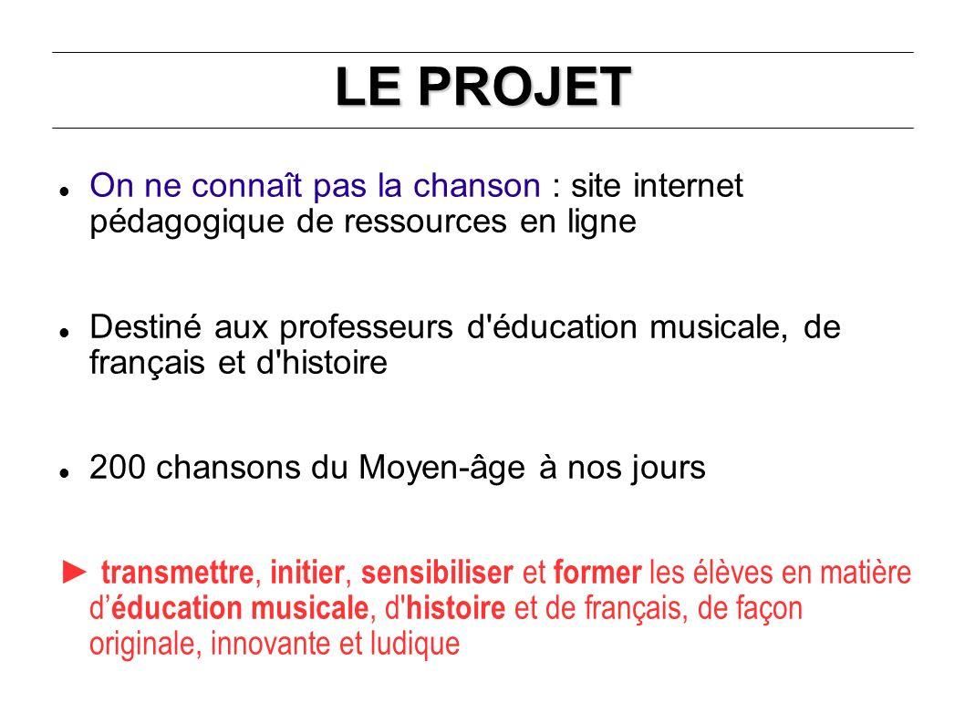 LE PROJET On ne connaît pas la chanson : site internet pédagogique de ressources en ligne.
