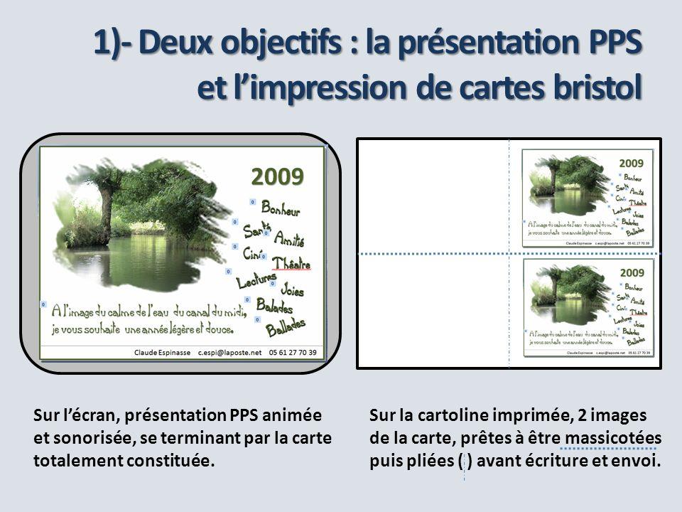 1)- Deux objectifs : la présentation PPS et l'impression de cartes bristol