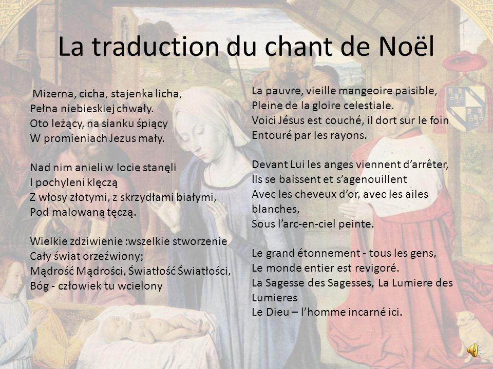 La traduction du chant de Noël