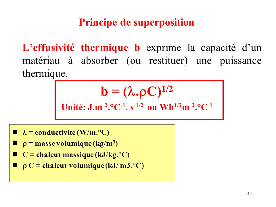 Unité: J.m-2.°C-1. s-1/2 ou Wh1/2m-2.°C-1