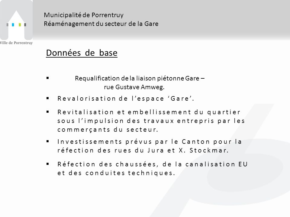 Données de base Municipalité de Porrentruy