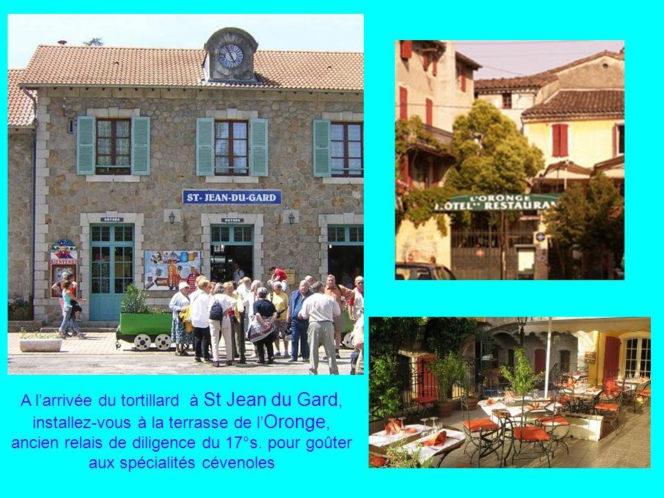 A l'arrivée du tortillard à St Jean du Gard, installez-vous à la terrasse de l'Oronge, ancien relais de diligence du 17°s.
