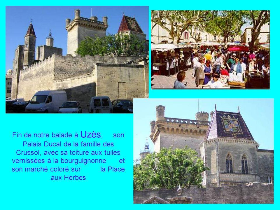 Fin de notre balade à Uzès, son Palais Ducal de la famille des Crussol, avec sa toiture aux tuiles vernissées à la bourguignonne et son marché coloré sur la Place aux Herbes