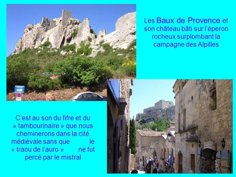 Les Baux de Provence et son château bâti sur l'éperon rocheux surplombant la campagne des Alpilles