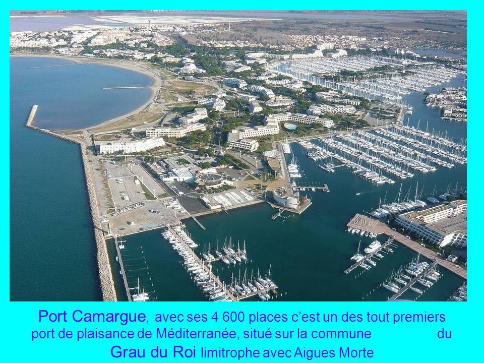 Port Camargue, avec ses 4 600 places c'est un des tout premiers port de plaisance de Méditerranée, situé sur la commune du Grau du Roi limitrophe avec Aigues Morte