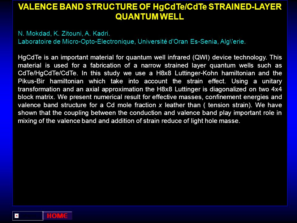 VALENCE BAND STRUCTURE OF HgCdTe/CdTe STRAINED-LAYER QUANTUM WELL