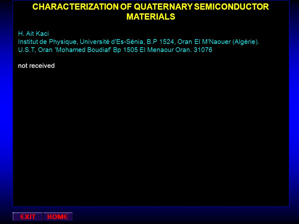 CHARACTERIZATION OF QUATERNARY SEMICONDUCTOR MATERIALS