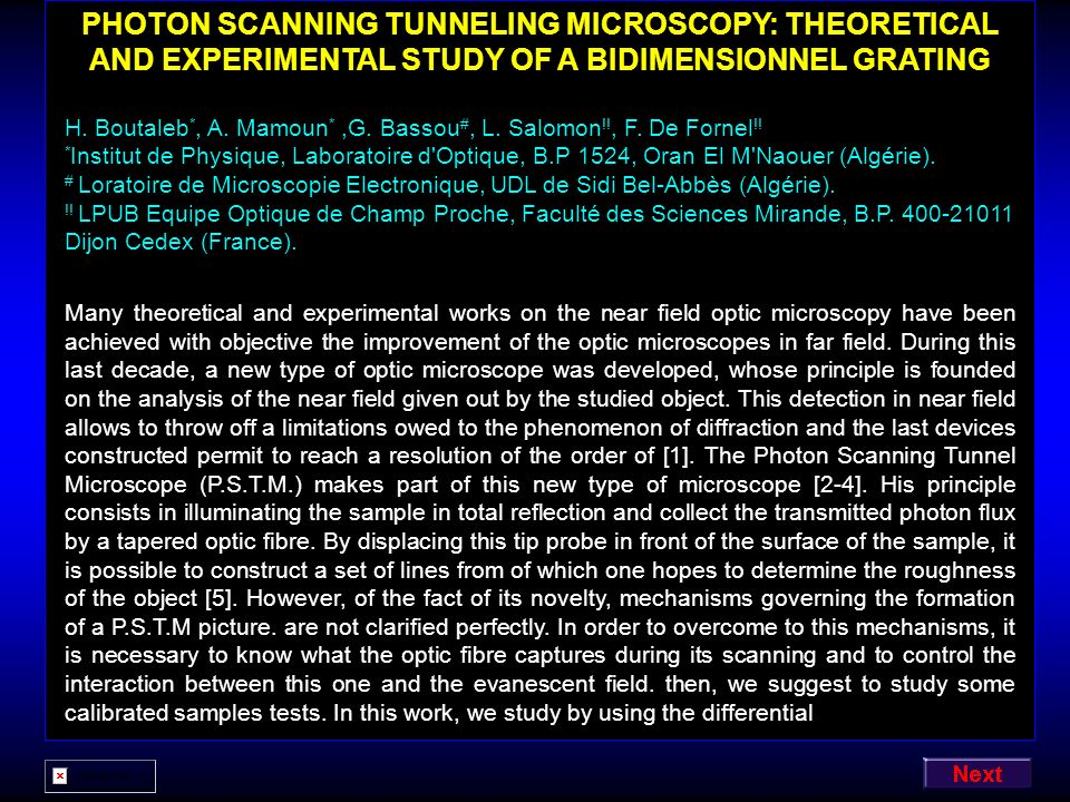 PHOTON SCANNING TUNNELING MICROSCOPY: THEORETICAL AND EXPERIMENTAL STUDY OF A BIDIMENSIONNEL GRATING