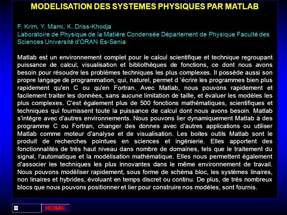 MODELISATION DES SYSTEMES PHYSIQUES PAR MATLAB