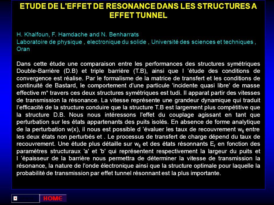 ETUDE DE L EFFET DE RESONANCE DANS LES STRUCTURES A EFFET TUNNEL