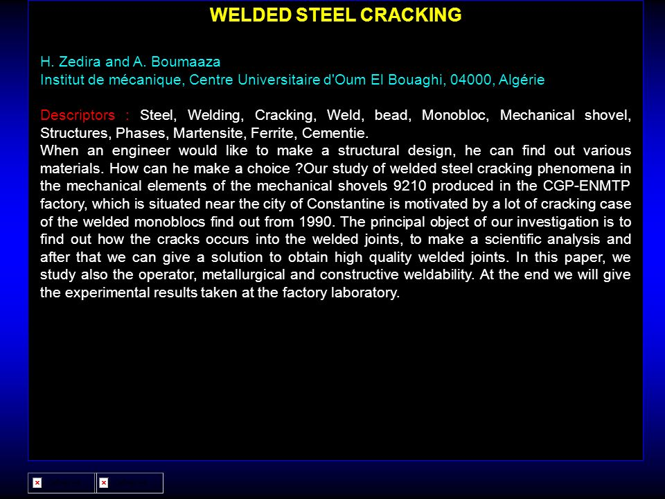 WELDED STEEL CRACKING H. Zedira and A. Boumaaza