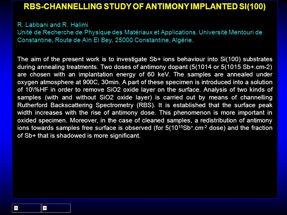 RBS-CHANNELLING STUDY OF ANTIMONY IMPLANTED SI(100)