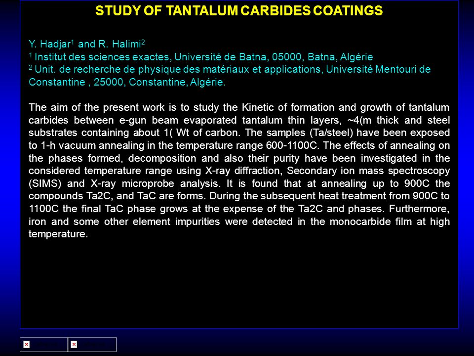 STUDY OF TANTALUM CARBIDES COATINGS