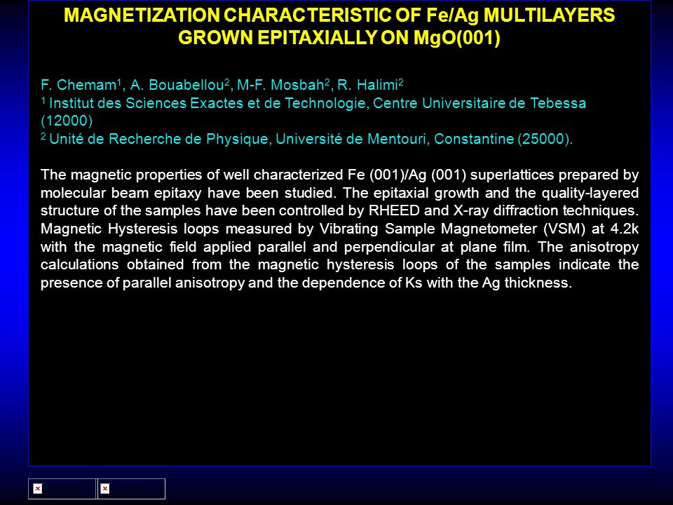 MAGNETIZATION CHARACTERISTIC OF Fe/Ag MULTILAYERS GROWN EPITAXIALLY ON MgO(001)